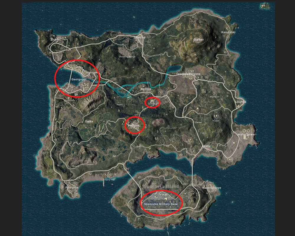The most fiercely contested areas on Erangel.